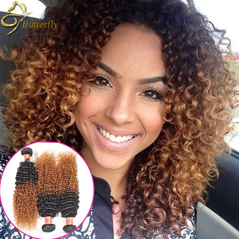 1 Pc Ombre Brazilian Curly Weave Human Hair Bundles Natural Hair Styles Curly Hair Styles Naturally Hair