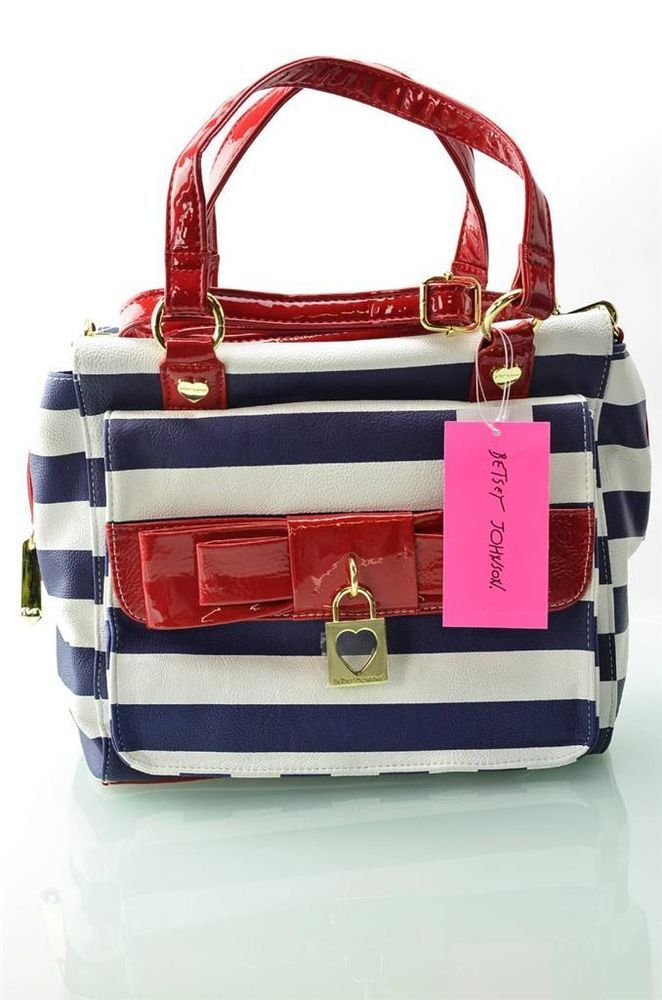 Betsey Johnson  Bags Red White Blue Handbag Lady Bow Satchel Purse Bag Tote  NWT ad96957aa0