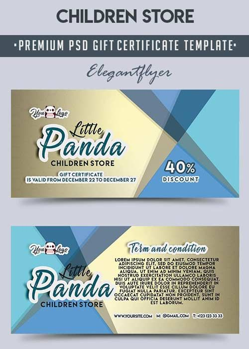 Gift Voucher Template Free Download Children Store V2 Premium Gift Certificate Psd Template Free .