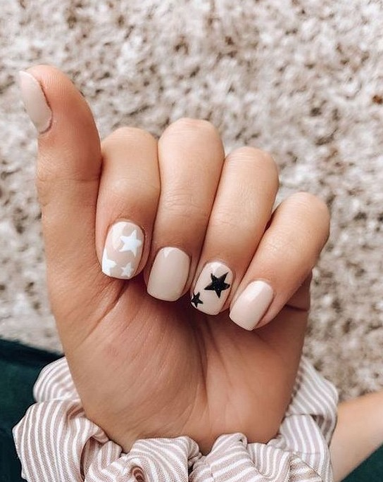 Light Blue Nails With Stars In 2020 Square Acrylic Nails Best Acrylic Nails Blue Acrylic Nails