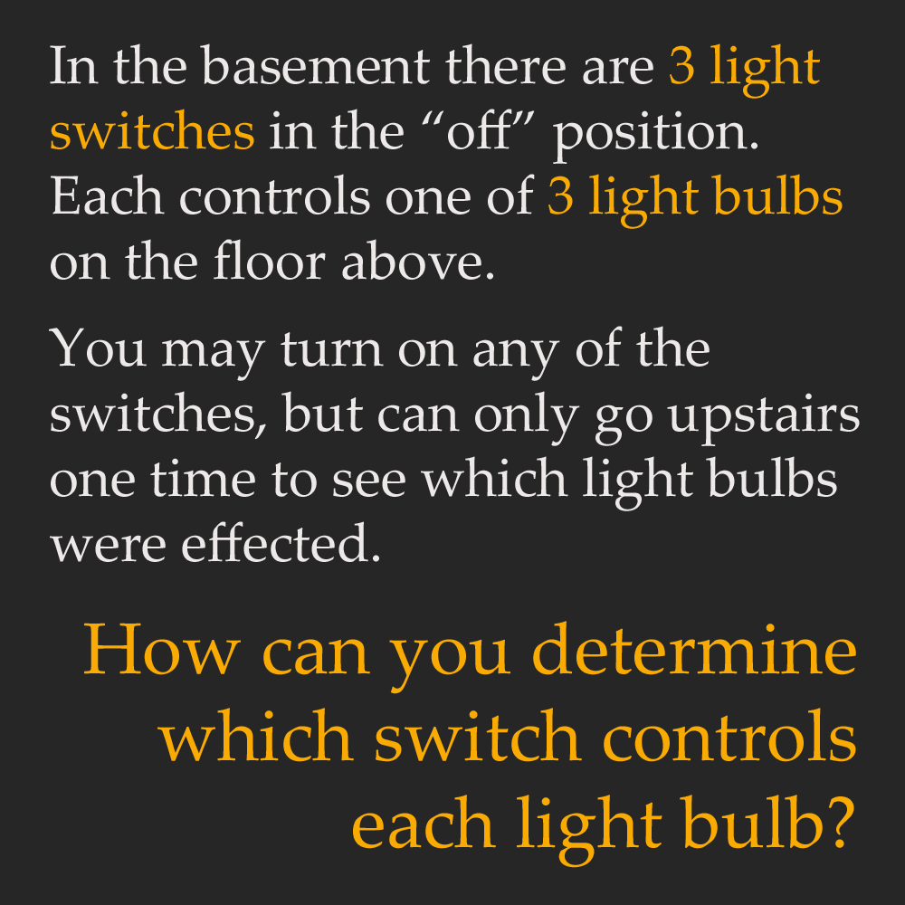in the basement there are three light switches in the \