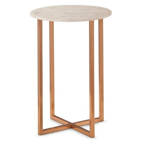 Good Accent Table: Threshold Copper Accent Table With Marble Top, White