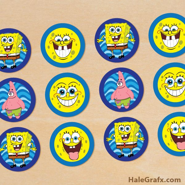 Spongebob Cupcake Toppers Free Printable Spongebob Squarepants Cupcake Toppers Spongebob Party Spongebob Birthday Party Spongebob Squarepants Cupcakes