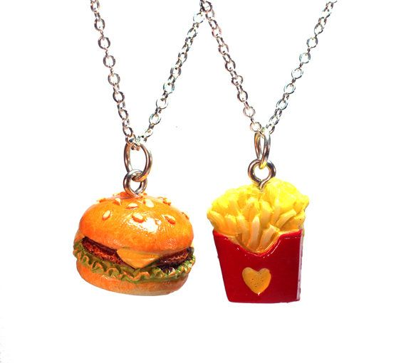 Best Friends Necklaces - BFF Cheeseburger and French Fries Charm Pendant best friend jewelry - Kawaii cute miniature food hamburger on Etsy, $20.00