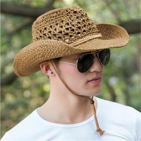Western straw cowboy cap for men summer sun hats with string ... 59d25978ff15
