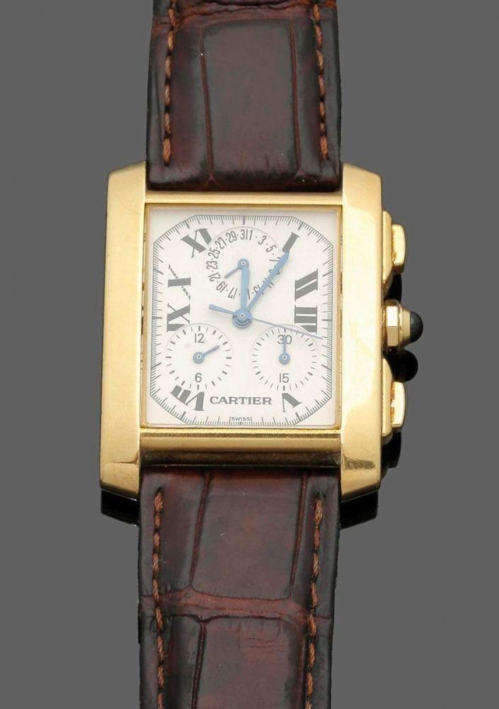 Cartier-HerrenarmbanduhrFa. Cartier, Schweiz. Modell: Tank Francaise Chronoflex Chronograph. 750er G — Schmuck-Uhren