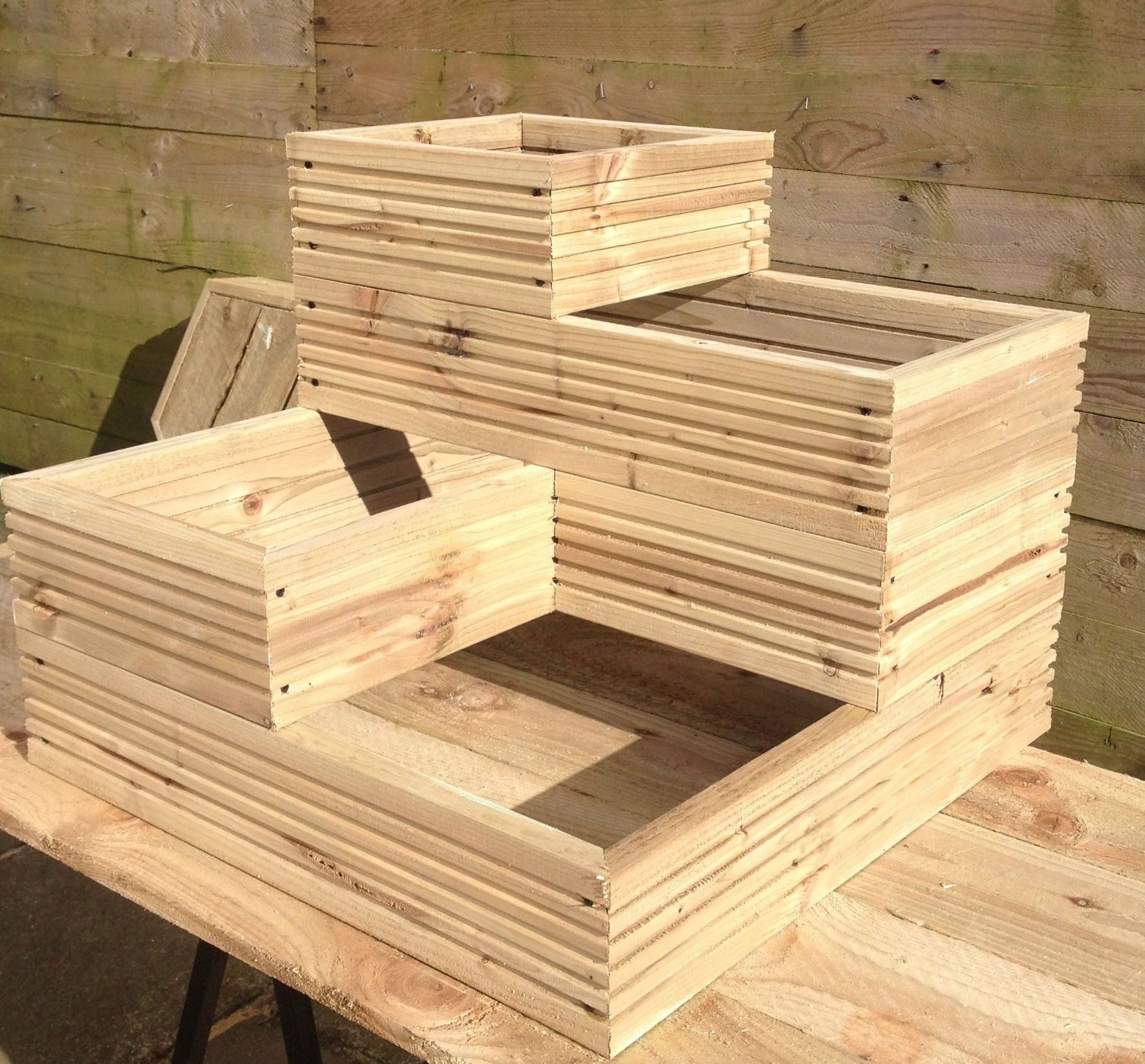 Large 4 Teir Wooden Planter Ready Assembled Amazon Co Uk 400 x 300
