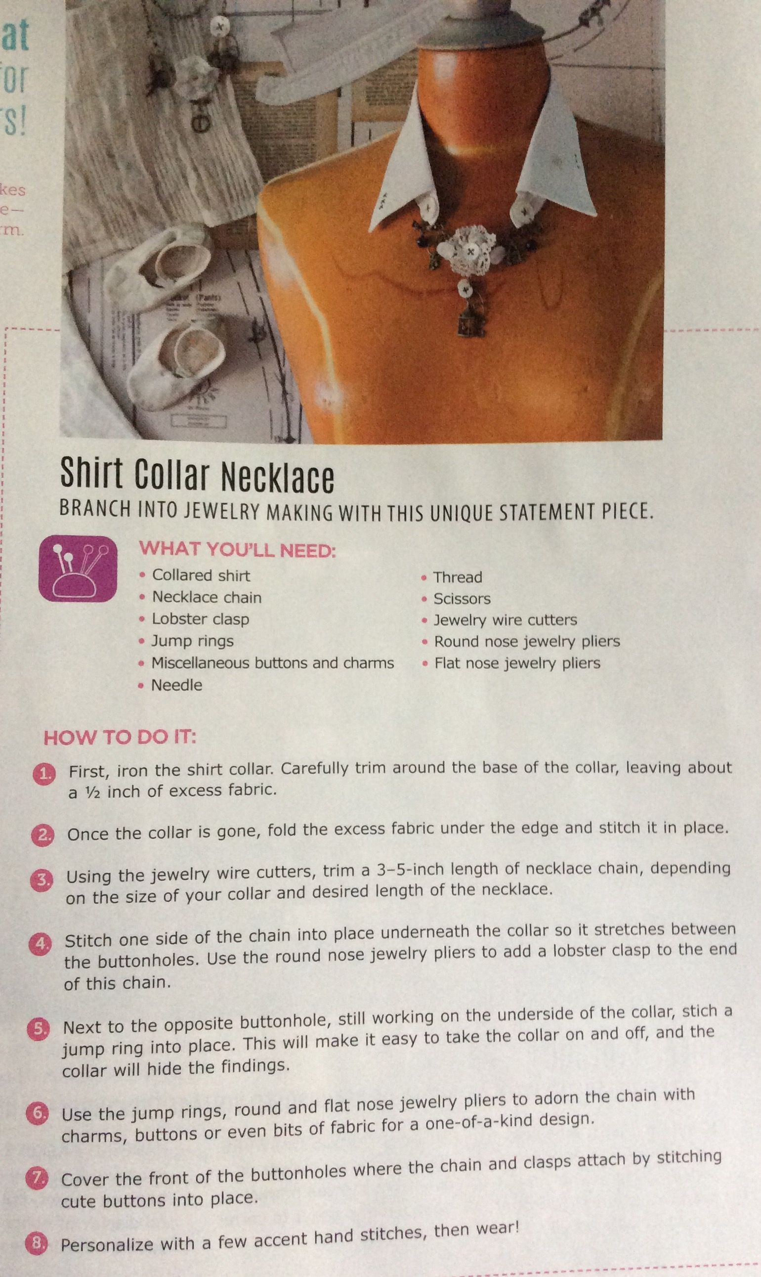 Covering up nose piercing for work  Shirt collar necklace  Craft Ideas  Pinterest  Shirt collars and