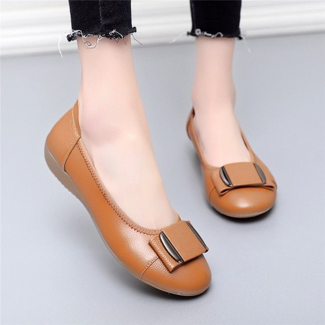 Texiwas women shoes woman genuine leather flat shoes casual work loafers ballet flats women f