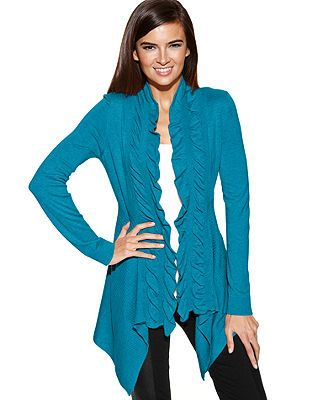 3366771239a INC International Concepts Ruffle-Trim Open-Front Cardigan tropical ...