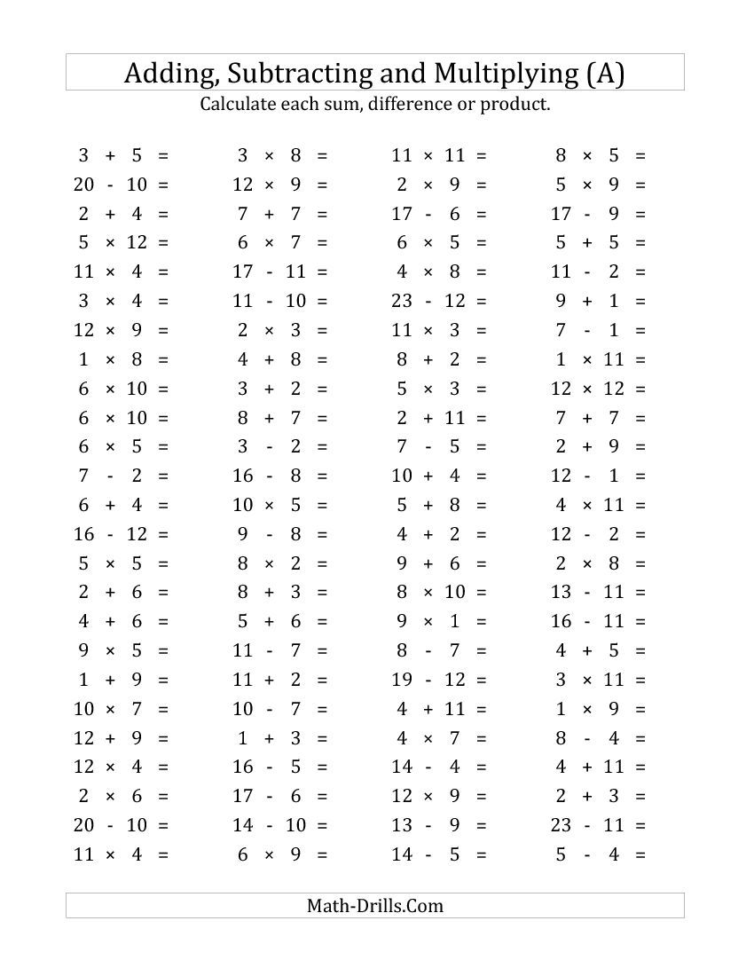 Worksheets Addition Subtraction And Multiplication Worksheets new 2015 03 18 100 horizontal additionsubtractionmultiplication questions facts 1 to a math worksheet