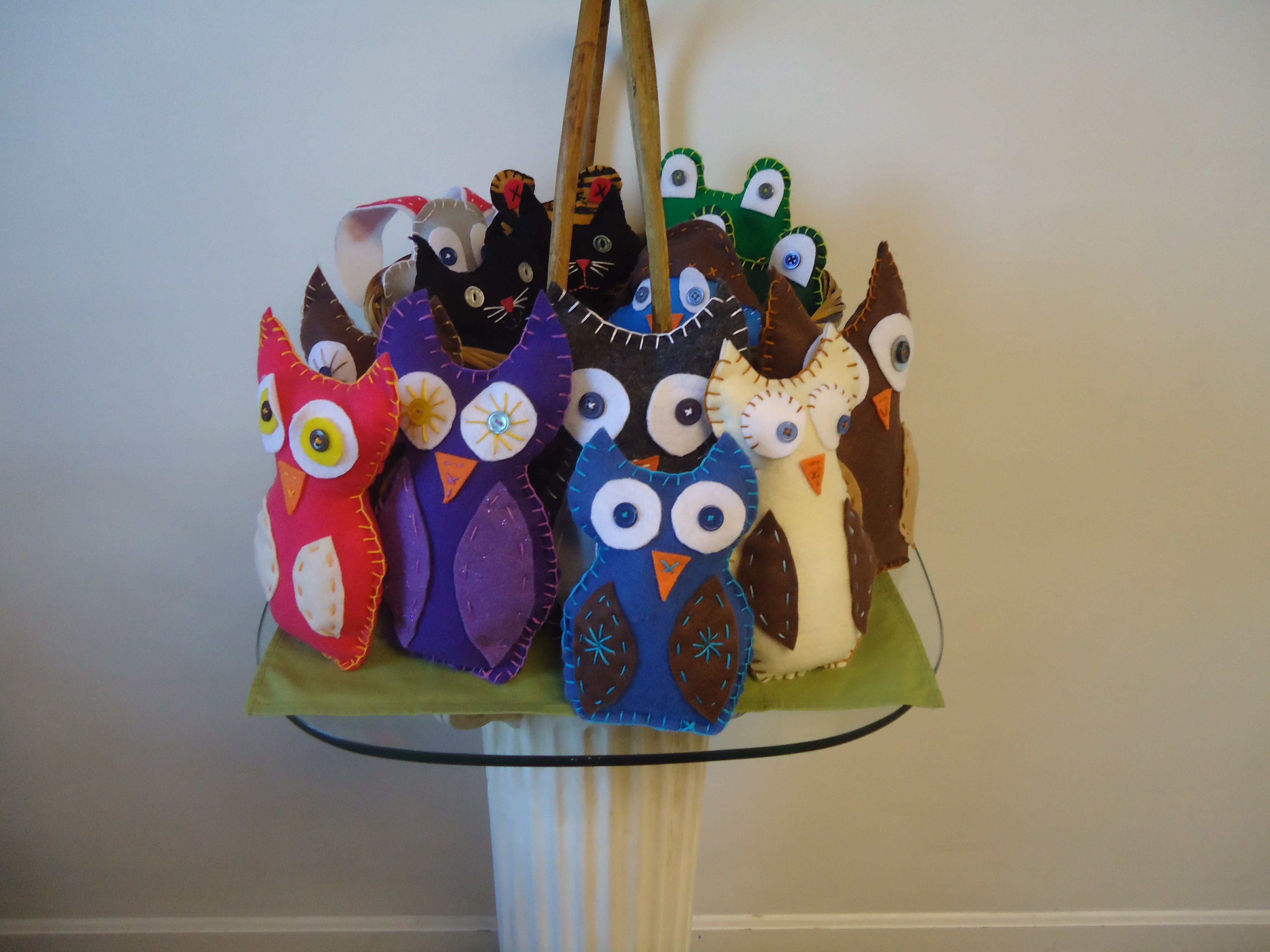 Felt owls and other critters