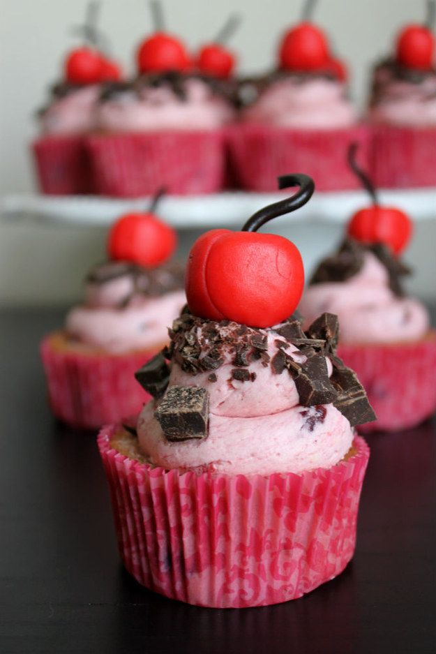 Cherry Garcia Inspired Cupcakes | Community Post: 17 Ben And Jerry's Inspired Desserts Every Ice Cream Lover Needs