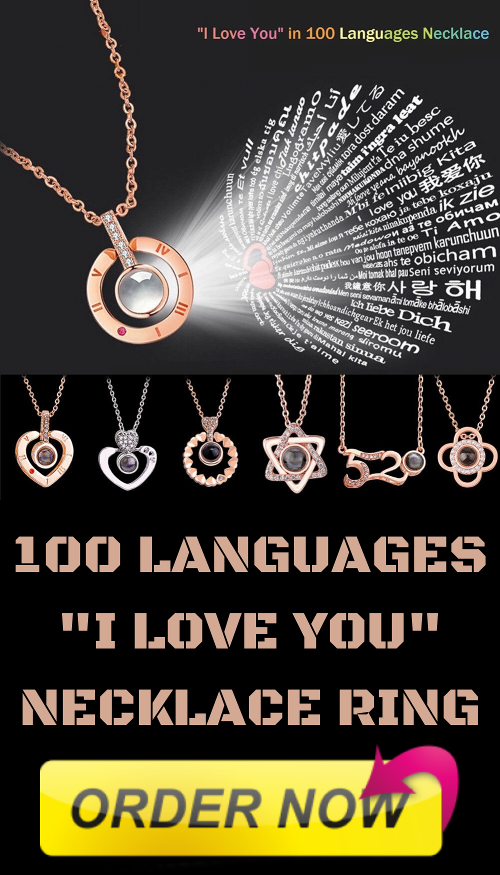 100 Languages I Love You Necklace Ring Gift Accessories My Love Ring Necklace
