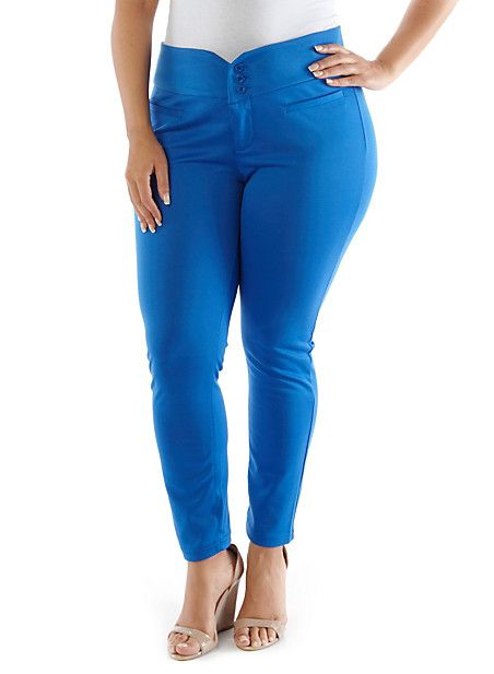 Plus-Size Stretch Knit Pant,RYL BLUE,large
