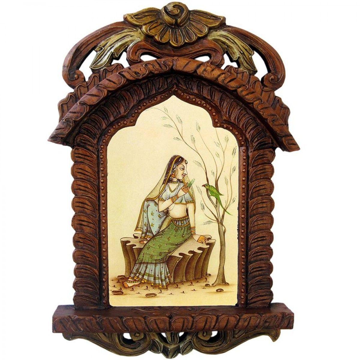 Beautiful Lady Feeding Parrot Wooden Jharokha Gift 439 | Home Decor ...