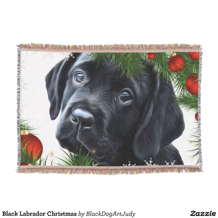 Black Labrador Christmas Throw | Black Labrador Blankets and Throws ...