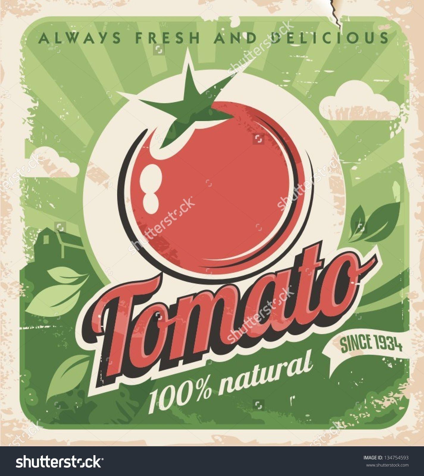 Plantilla del cartel vintage para la granja de tomate. Diseño de ...