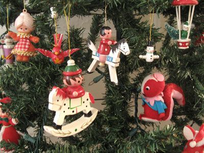 Vintage Wooden Christmas Ornaments Rocking Horse Holly Jolly