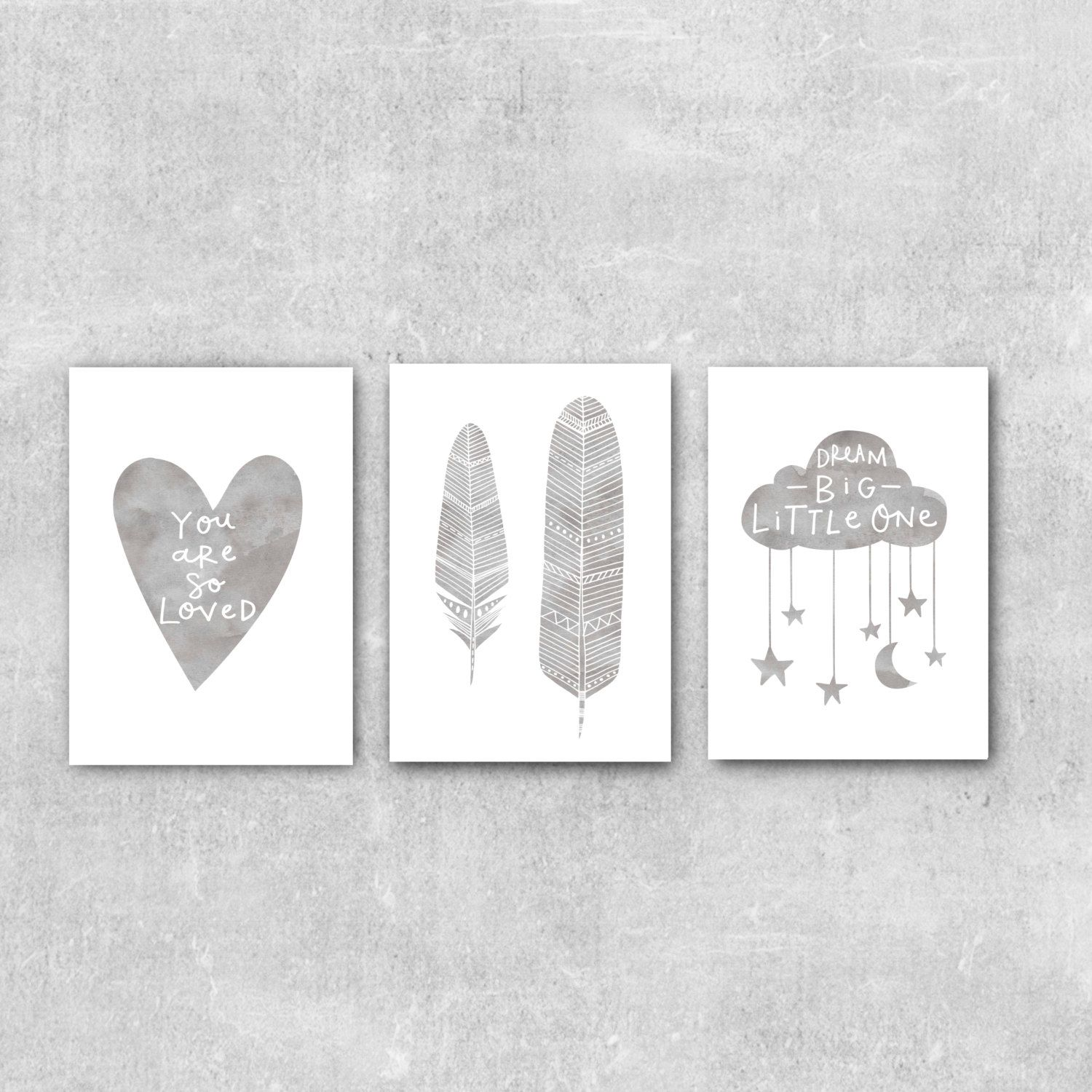 Neutral Wall Art grey nursery wall art set nursery prints set of 3 prints grey