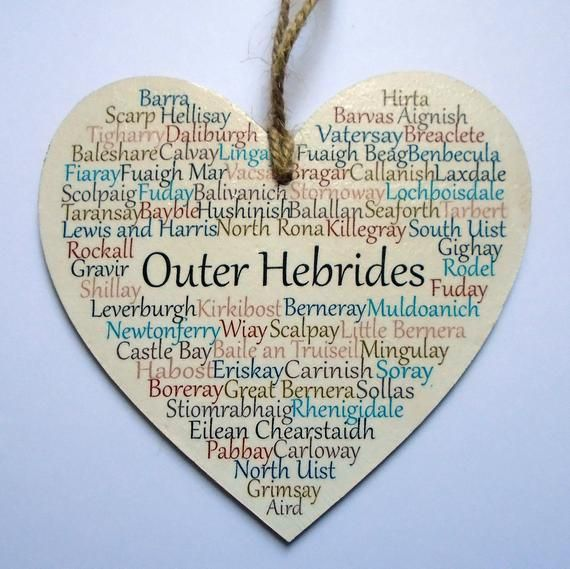 Outer Hebrides Heart Decoration, Outer Hebrides, Western Isles, Claire Kirkpatrick, Claire Kirkpatrick Art, Typography