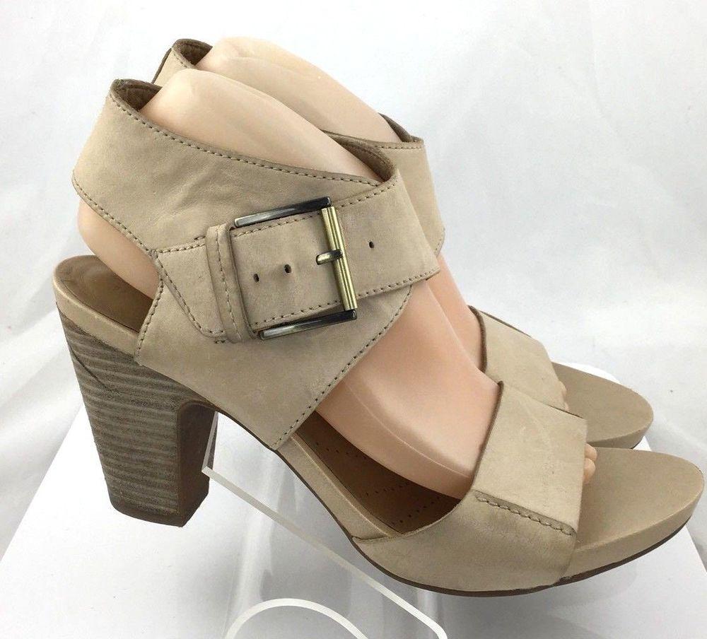 c77230bd55b Clarks Artisan Womens Okena Mod Leather Open Toe Heels Size 7.5 M Beige  work  ClarksArtisan  Strappy  Any
