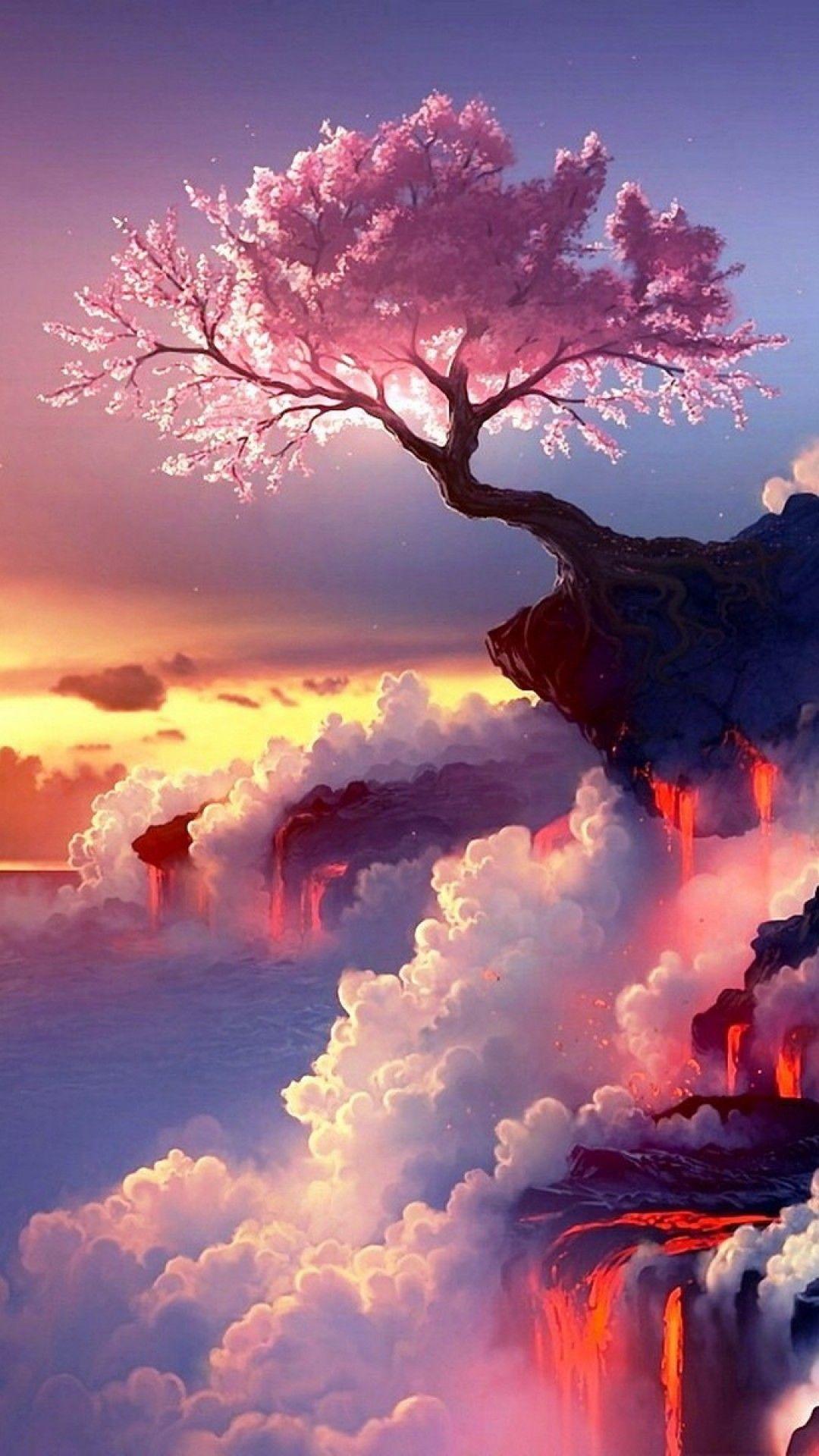 人気243位 崖に咲く一本の桜 Iphonex スマホ壁紙 待受画像ギャラリー ファンタジーな風景 風景の壁紙 幻想的なイラスト