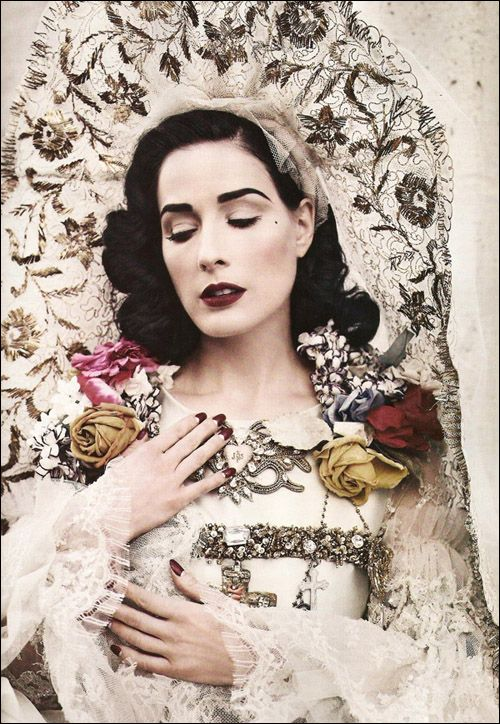 Dita Von Teese for Russian Bazaar - Christian La Croix gown (because I couldn't resist pinning the closeup)