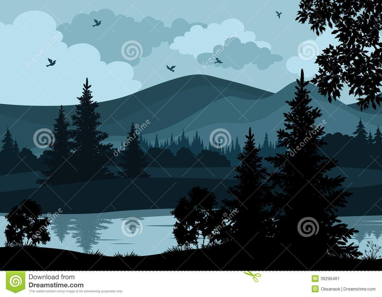Landscape Trees River And Mountains Stock Vector Image 39296461 Night Landscape Landscape Landscape Background