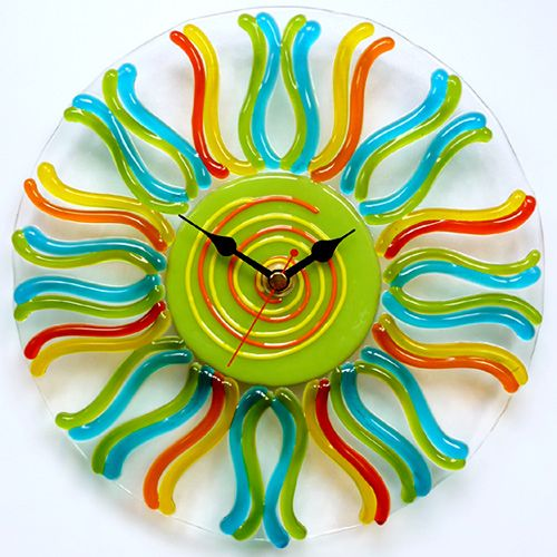 Pattern Bar Fused Glass Designs Glass wall clock with opaque
