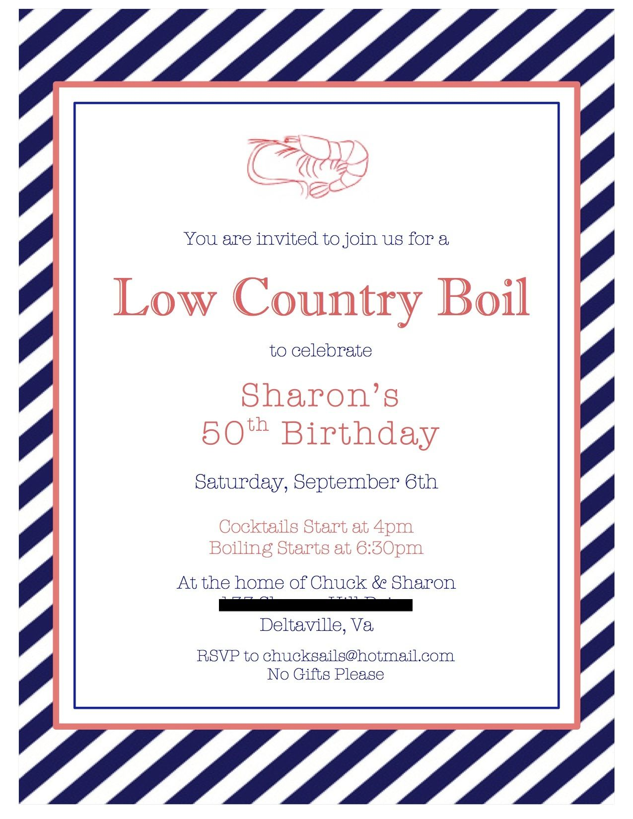 Low Country Boil 50th Birthday Invitation 50th birthday