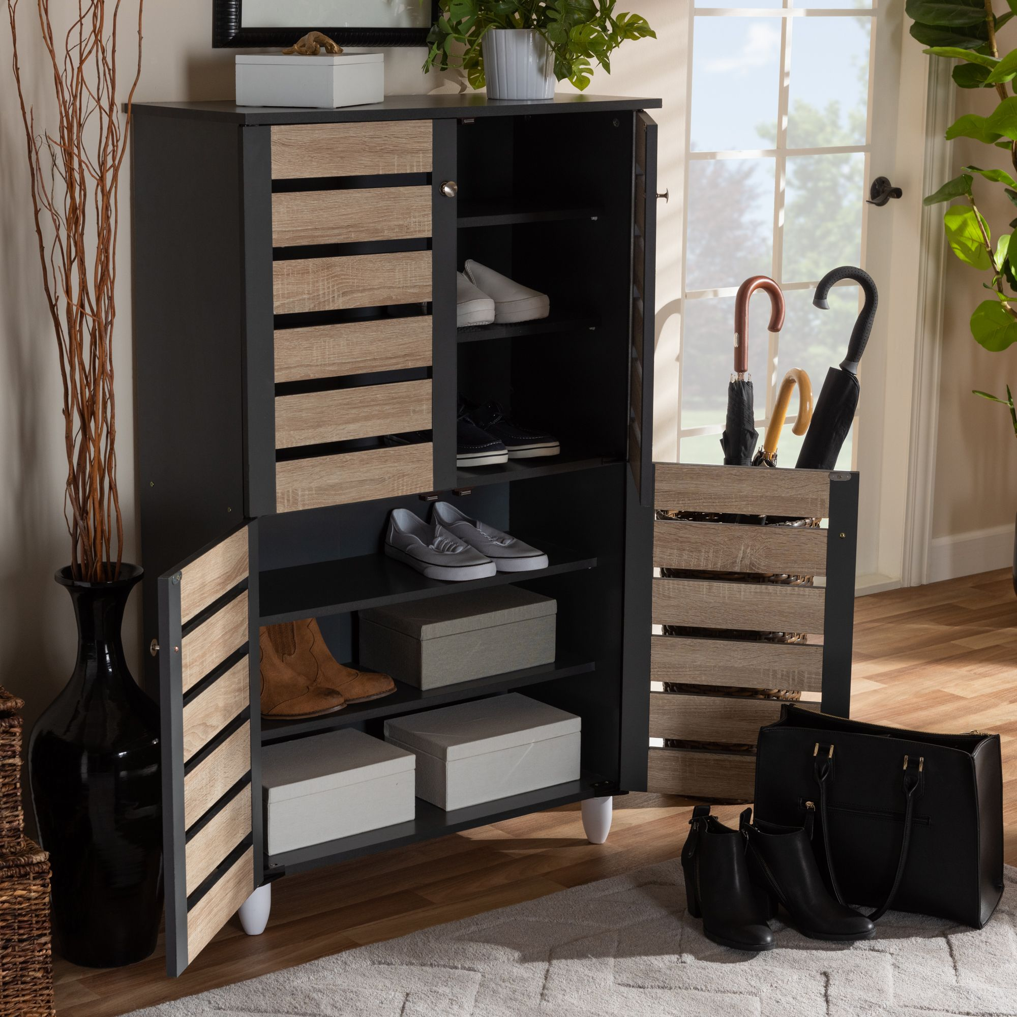 baxton studio gisela modern and contemporary two tone oak on shoe rack wooden with door id=95088