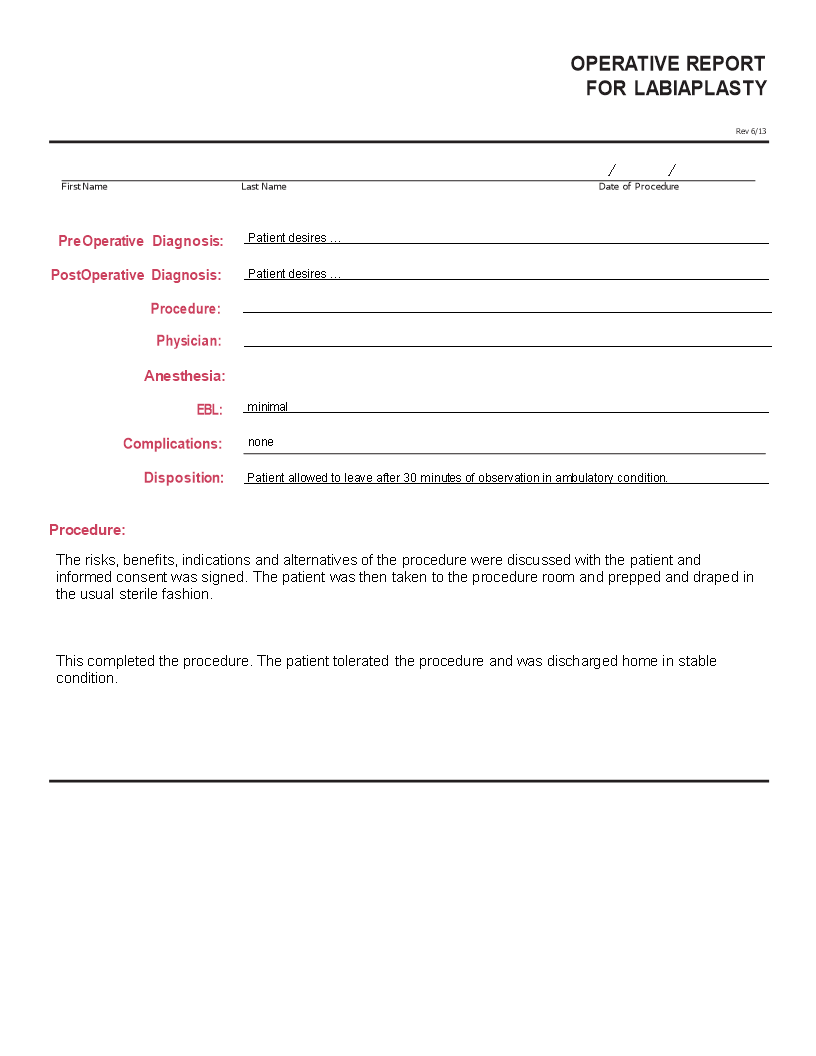 How To Write An Operative Report Have A Look At This Example Report And Download The Template Now Templates Report Template Report Templates