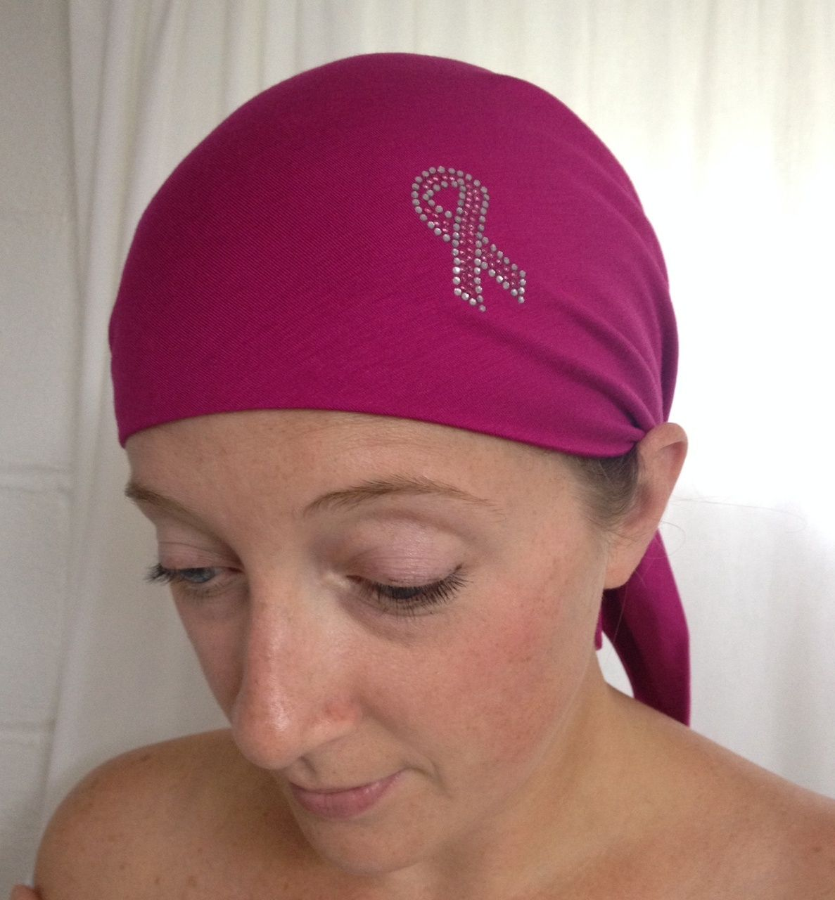 Sparkle My Head Scarves - Breast Cancer Awareness Ribbon Self Tie Head Scarf #tieheadscarves