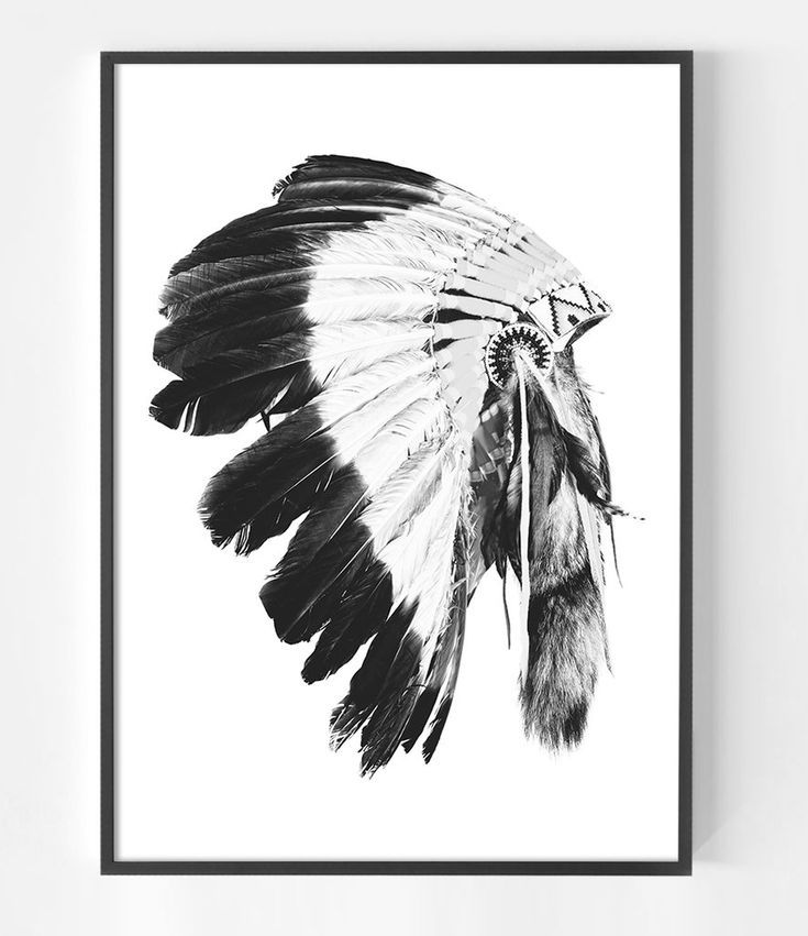 Black and white indian headdress print tribal interior native american indian artwork boho