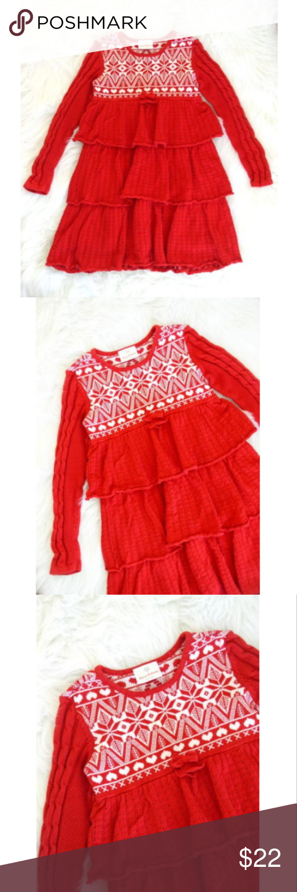 28a5cb27ce Hanna Andersson Red   White Holiday Sweater Dress Hanna Andersson girls  holiday sweater dress. Red and white cotton knit dress with a nordic  patterned ...