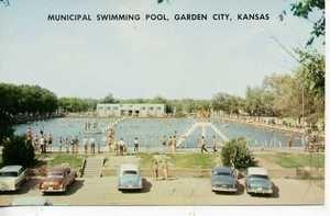 1950 S Cars Garden City Kansas Swimming Pool Postcard With Images City Garden City Swimming Pools