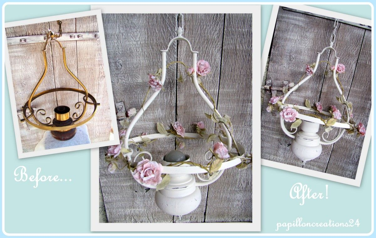 Electric light fitting turned into a shabby candle holder! www.facebook.com/RustiqueChic24