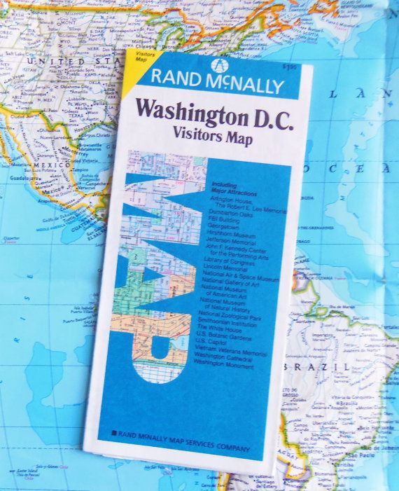 80s Visitors Map of Washington D. C.    Vintage Rand by BunnysLuck