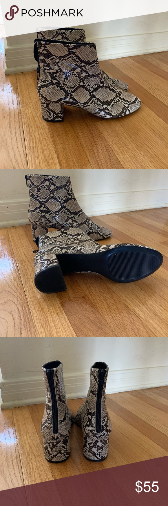 Mango snake print boots Worn once for a couple hours! They are really comfortable. Size 39 fits an 8.5 Mango Shoes Ankle Boots & Booties #snakeprintbootsoutfit