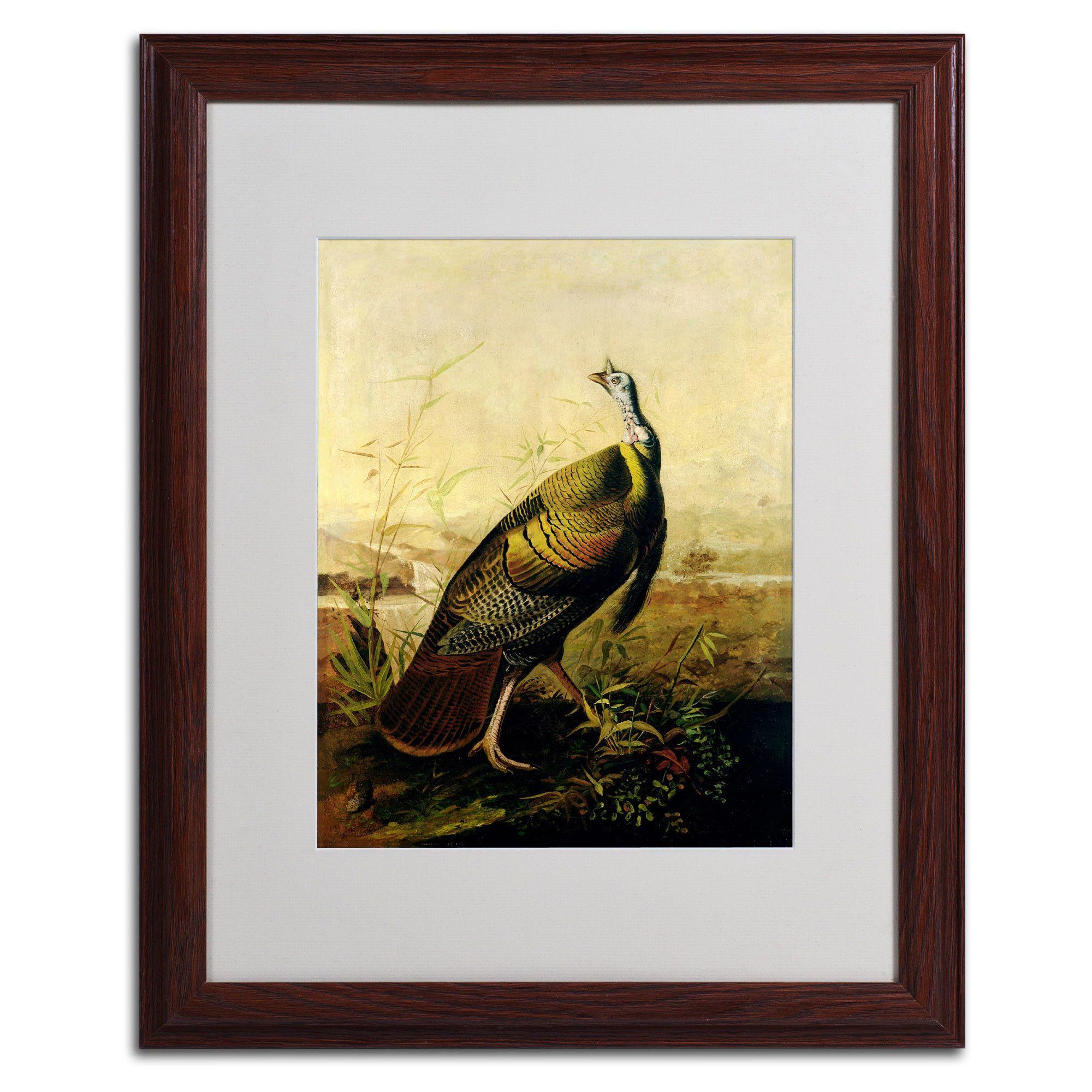 American Wild Turkey Cock by John James Audubon Matted Framed Painting Print