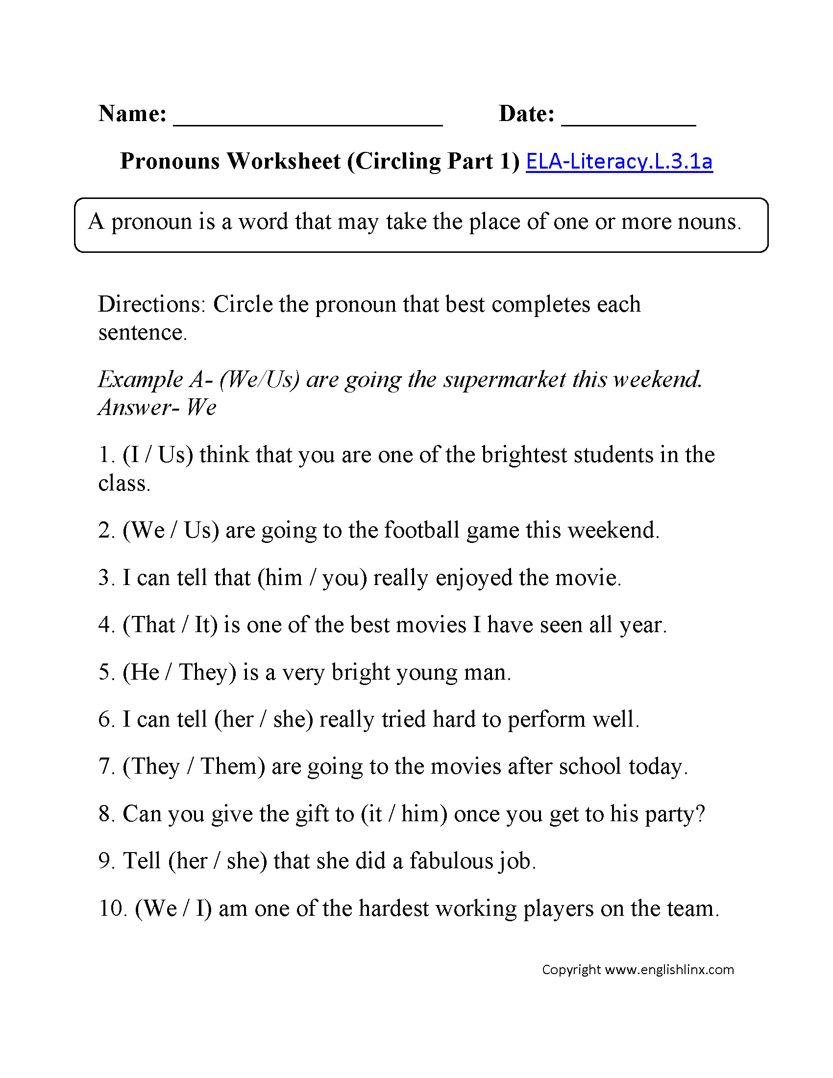 Pronouns Worksheet 2 ELA-Literacy.L.3.1a Language Worksheet ...