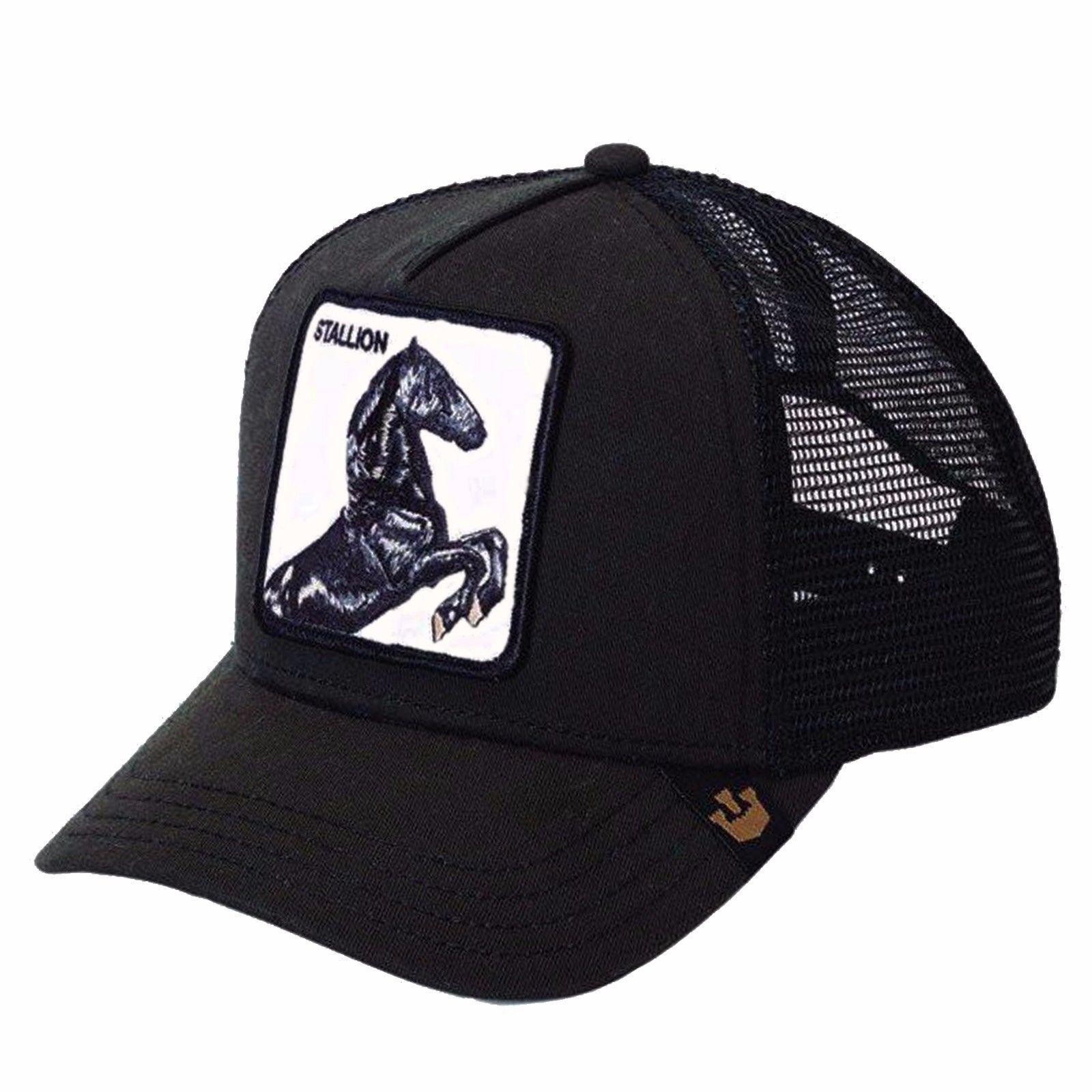 Goorin Bros Animal Farm Trucker Snapback Hat Cap Black Stallion Goorin Hats Cowboy Style