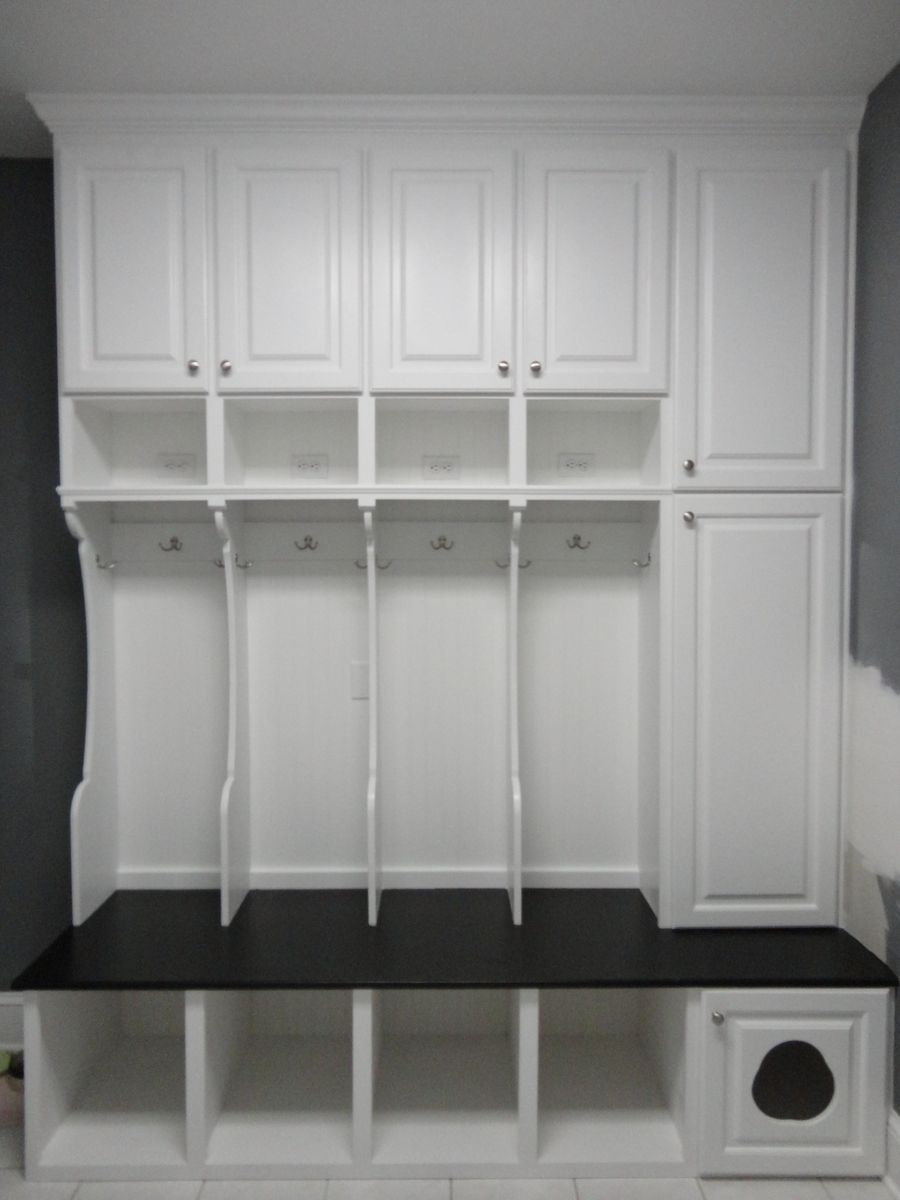 Mud Room Cabinets Custom Made Mudroom Locker With Cat Door And Wall Cabinet Unit