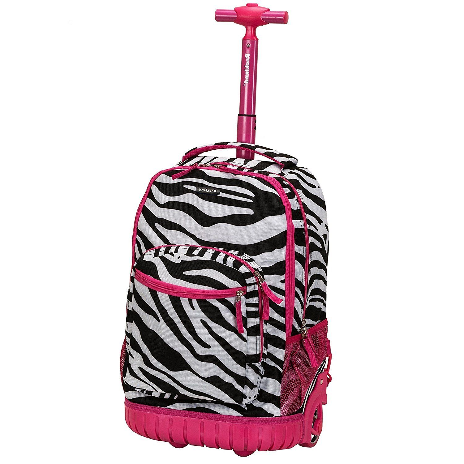 8c28285a30 Kids Pink Zebra Pattern Rolling Backpack African Themed Duffel Exotic  Jungle Zoo Safari Suitcase Kids School ...