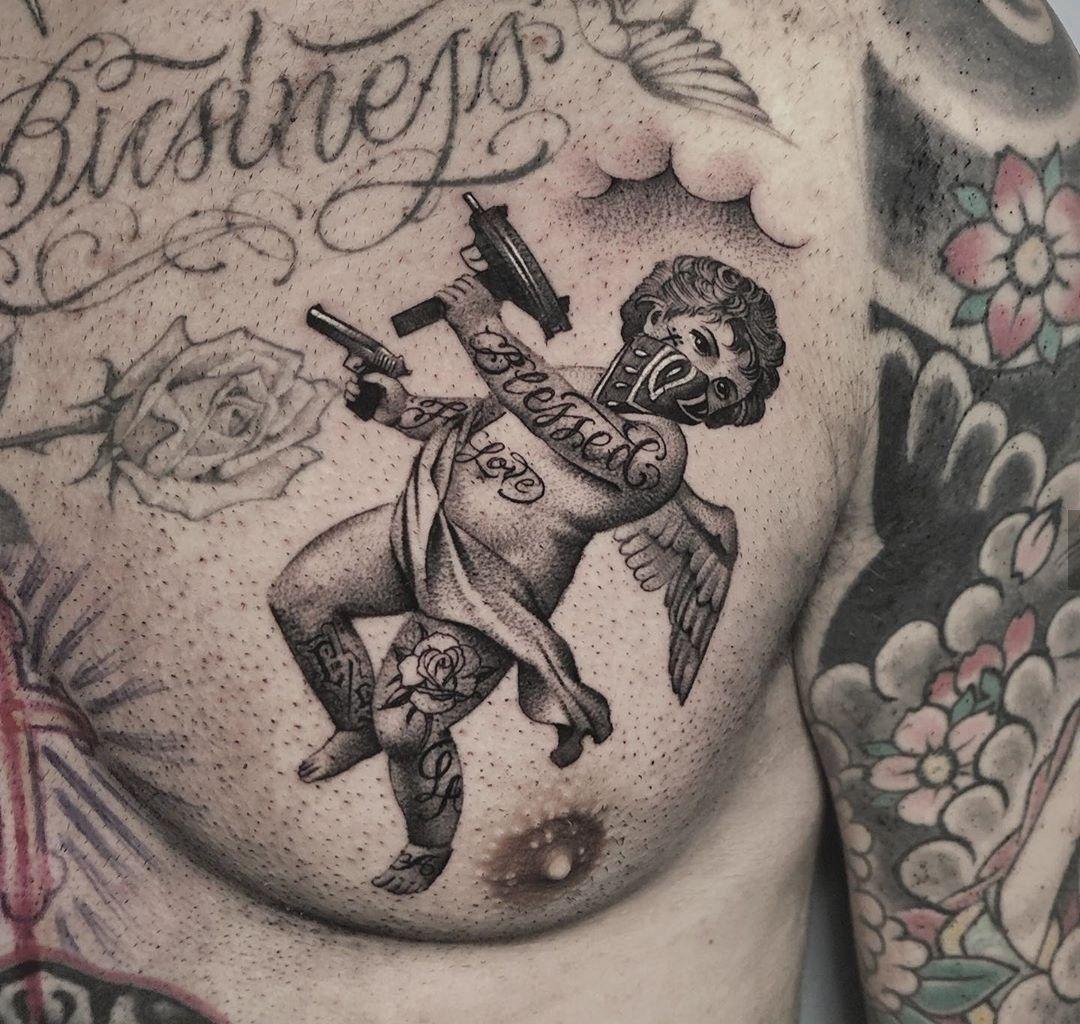 Pin De Luan Gabriel Em 4 Tatto S Tatuagem De Anjo Cupido Tatuagem Tatuagem De Maos Rezando