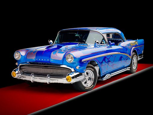 AUT 26 RK2753 01 © Kimball Stock 1957 Buick Special Hot Rod Blue With Flames 3/…
