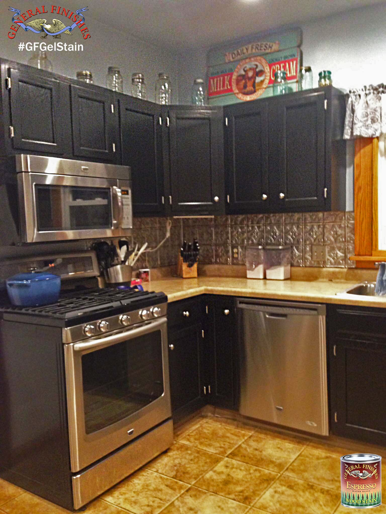 These kitchen cabinets were stained with GF Black Gel Stain for a