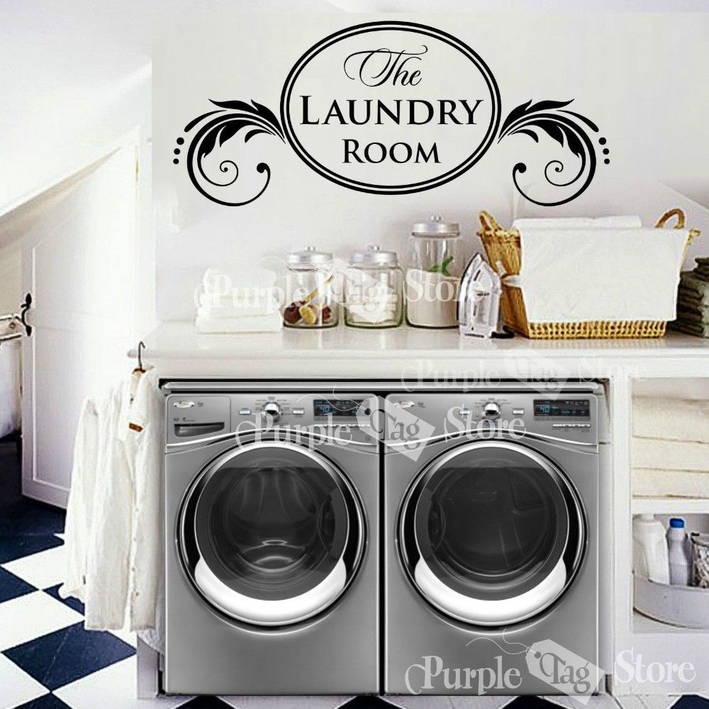 Laundry Removable Vinyl Wall Decal Housewife Housekeeper Laundry
