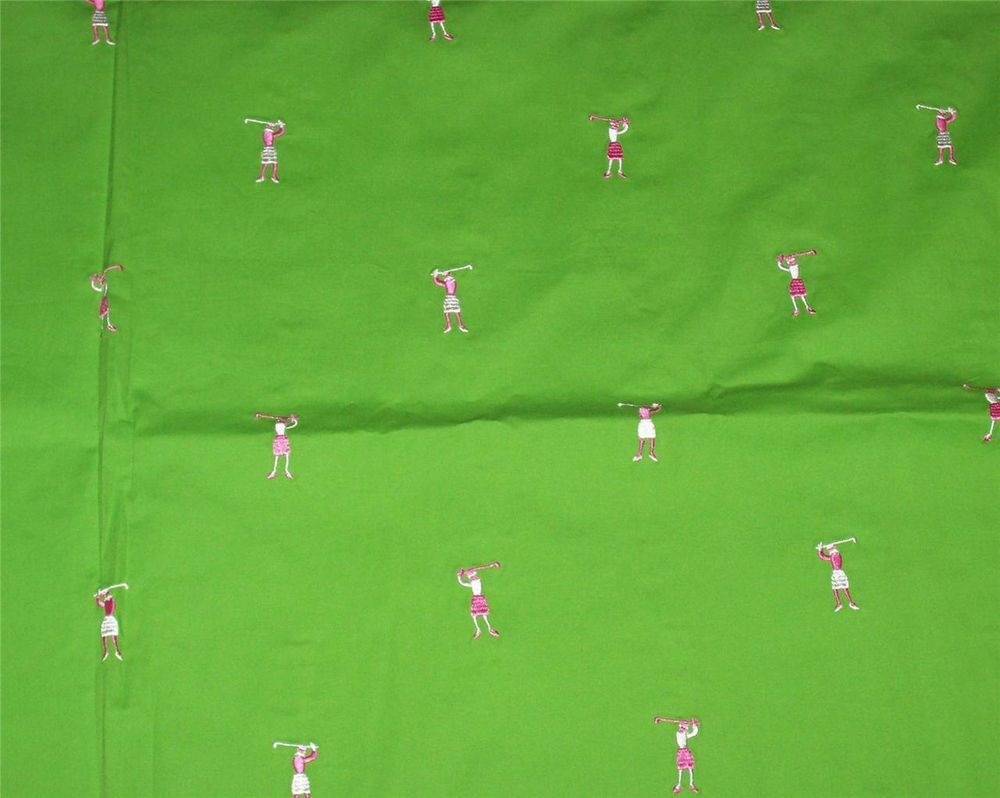 RARE*LILLY PULITZER FABRIC*EMBROIDERED LADY GOLFER*TEE TIME*GREEN*PINK*18X18*NEW #lillypulitzerfabric